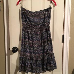 Tribal print strapless dress